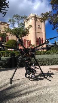 Setting up for aerial video shoot, Mallorca real estate