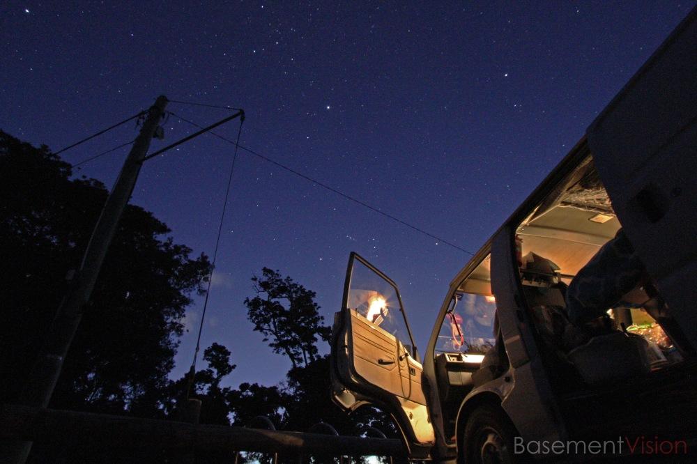 Camper van under the stars in Byron Bay