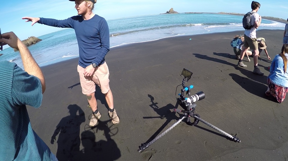 Director Alexander Brown sending the drone out for a big beach aerial