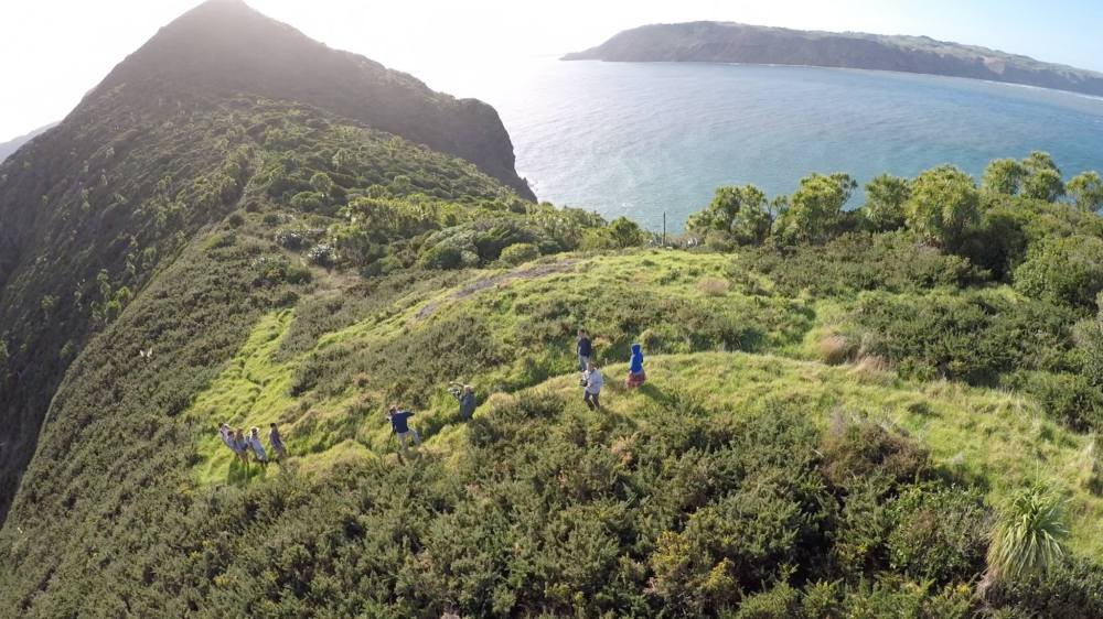 Behind the scenes from the drone during a hiking scene shoot on the Hillary Trail in Auckland