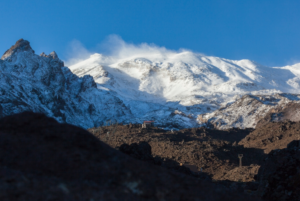 Mt Ruepehu on North Island with its first winter coat. New Zealand.