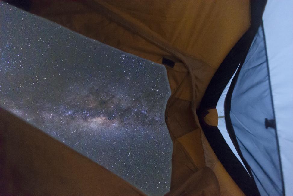 The Milky Way seen from a tent door