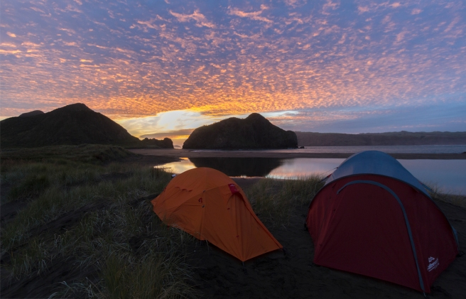 Wilderness camp spot on New Zealands West Coast