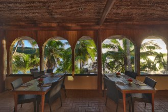 Main dining area with open plan setting, panoramic ocean views